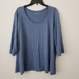 Eileen Fisher Blue Linen Top 2X